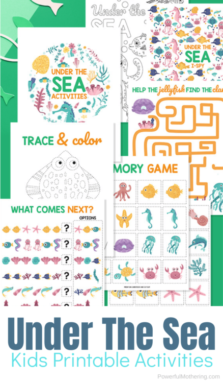 Simple and fun Under The Sea printable activities for kids. These games are so fun, kids won't know just how much they are learning.