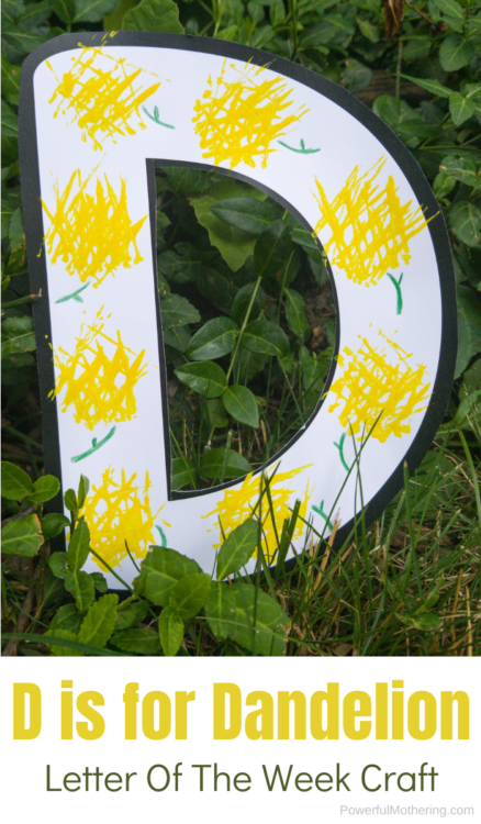 D is for Dandelion craft for kids. A simple letter of the week craft for kids!