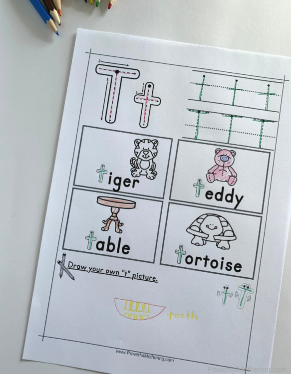 Letter Tracing Worksheets for letter T. These printables are perfect for children who need prewriting activities such as preschool and kindergarteners.
