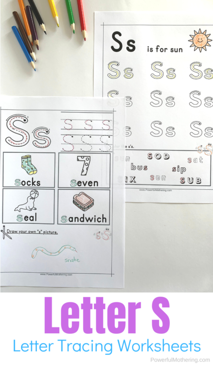 Letter Tracing Worksheets for letter S. These printables are perfect for children who need prewriting activities such as preschool and kindergarteners.