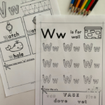 Letter W Tracing Worksheets that help children explore the letter W including beginning sounds, tracing, and more.