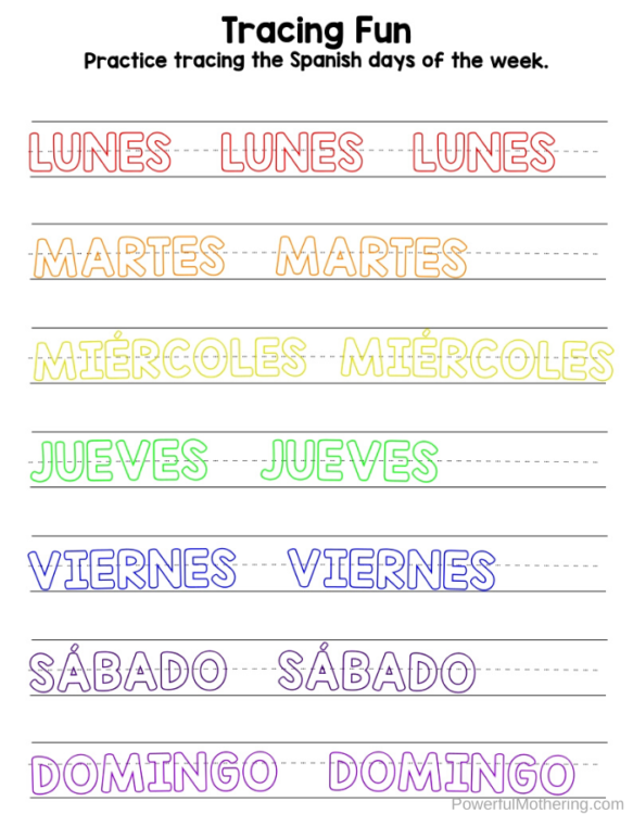 A fun Spanish Days of The Week printable pack to help kids learn the days of the week in Spanish.