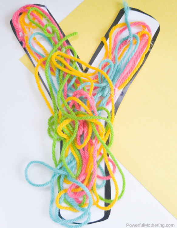Your kids will love this Letter Y is for Yarn Craft. It is colorful, fun and perfect for fine motor skill strengthening and creativity.