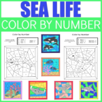 Sea Life Color By Number Printables